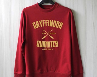 Gryffindor Quidditch Harry Potter Shirt Sweatshirt Sweater Shirt – Size XS S M L XL