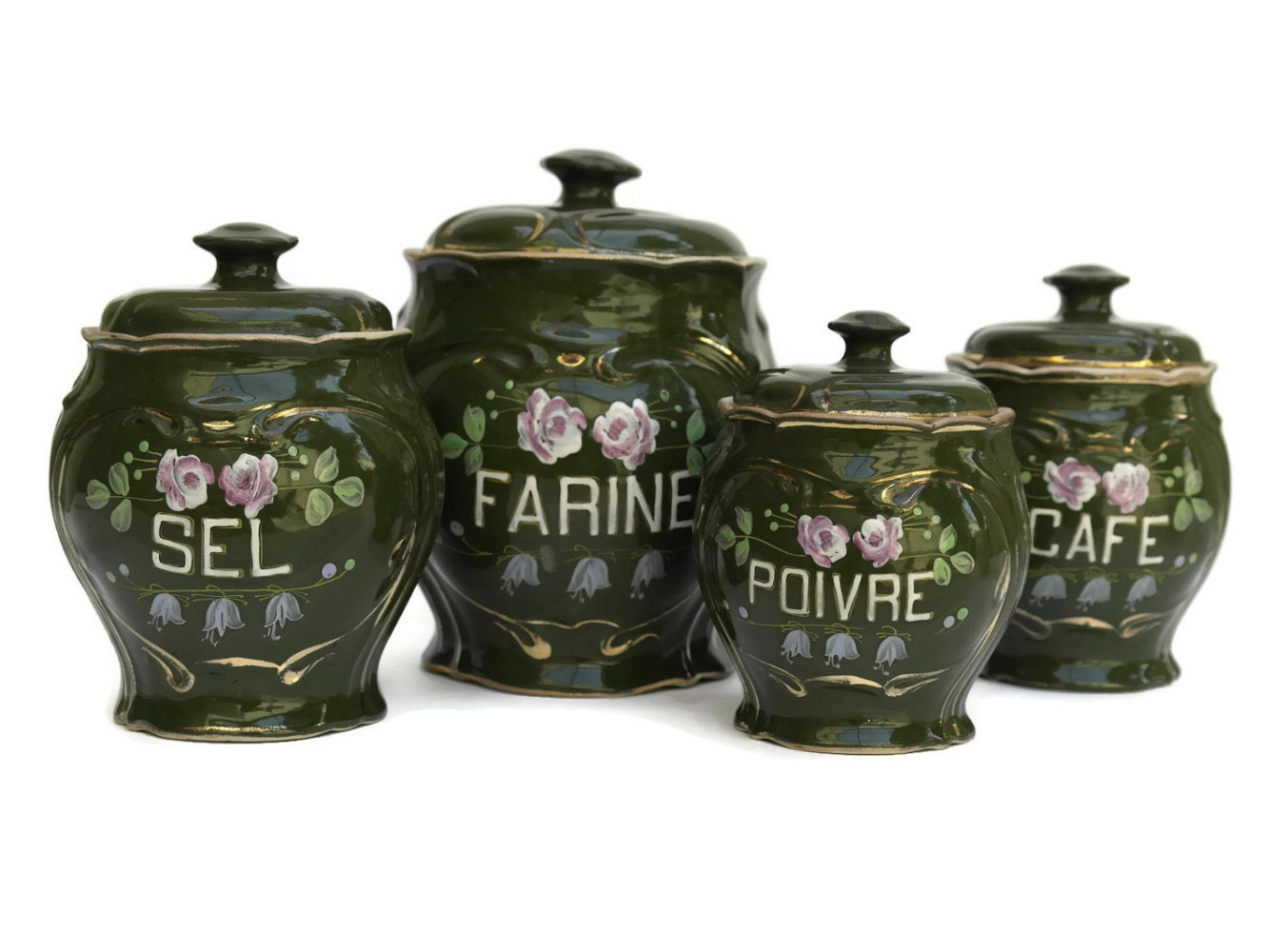 French Kitchen Canister Set. Antique Porcelain By