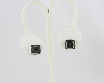 Sterling Silver Black Post Stud Earrings