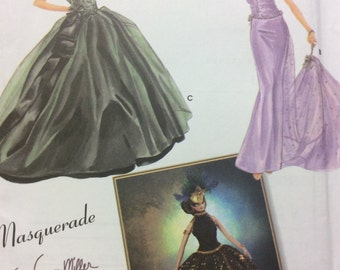 """Simplicity 5709 UNCUT Masquerade Ball Gowns & Mask Doll Clothes By Patti Wagner Miller Couturier Sewing Pattern FF 15 1/2"""" Doll Clothes"""