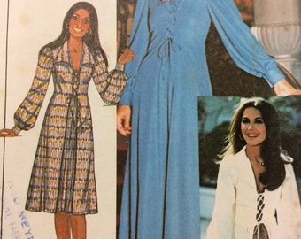 """McCall's 5257 UNCUT Marlo's Corner Maxi Dress or Top with Lace Up Tie Front 1970s Vintage Sewing Pattern Size 12 Bust 34"""""""
