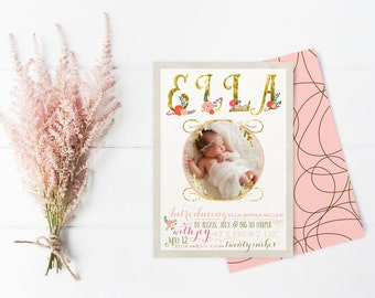 Floral Birth Announcements for Baby Girl - Pink and Gold Boho Baby Announcement Photo Cards - Printable or Printed