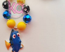 Finding Dory Necklace, Dory Chunky Necklace, Blue Fish Necklace, Dory Bubblegum Necklace, Finding Nemo, Finding Dory