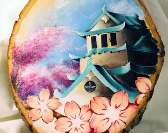 Japanese Pagoda w/ Cherry Blossom
