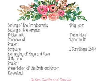 Floral Bohemian Wedding Program