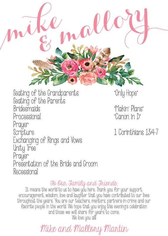 Floral Bohemian Wedding Program