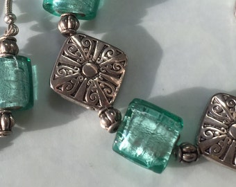 Silver and Mint Bracelet and Earrings Set or Seperates