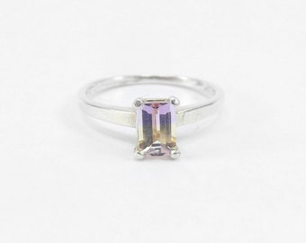 Emerald Cut Ametrine Ring, Sterling Silver Bicolor Ametrine Ring, Purple and Yellow Engagement Ring, Ametrine Solitaire Ring, Size 7