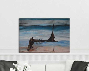 FREE SHIPPING-Shipwreck-Original art seascape oil painting on canvas by EMMANOUELA-Size:90x60cm (35.4''x23.6'')