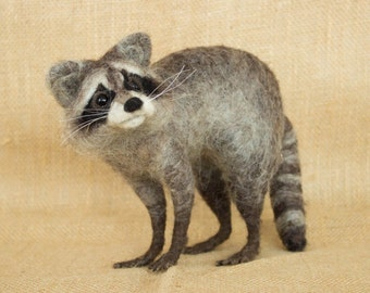 Made to Order Needle Felted Raccoon: Custom needle felted animal sculpture