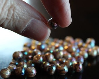 70 matte style AB color plated glass pearl beads, round, spray painted, 6 mm, hole 1 mm, camel with dark rainbow sparkles