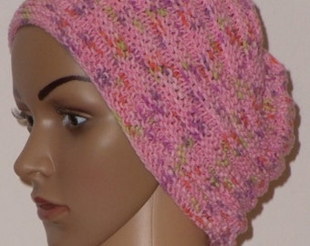 Lightweight knitted CAP in pink with light green, Orange and violet