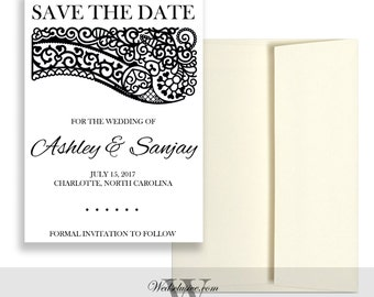 Save the Date Cards, Indian Weddings, Henna Print, Modern, Bold, Unique - DEPOSIT