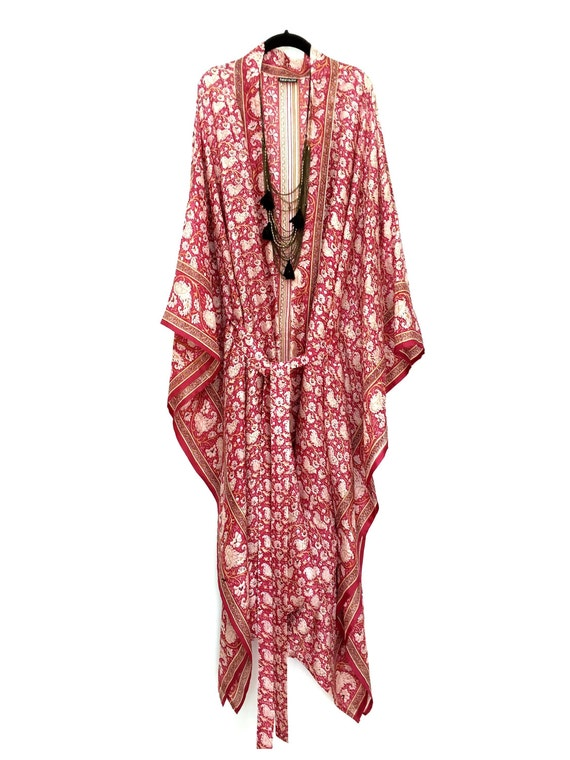 Silk Kimono Jacket Beach Cover Up Kaftan In Raspberry Pink