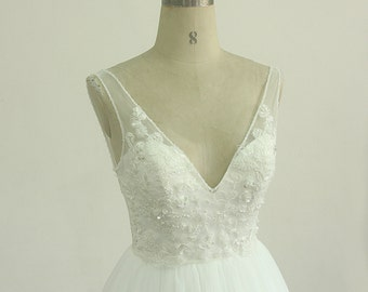 Open back deep V neckline off white a line tulle lace wedding dress with cathedral train