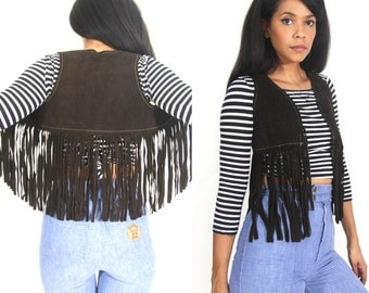 Vintage 70s Brown Suede Leather Cropped Long Fringe Vest Moto Biker Hippie Festival