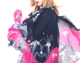 HANAE MORI - 1970s Silk Floral Dress with Matching Cape