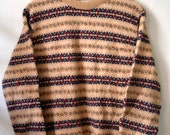 Vintage FAIR ISLE HANDMADE Tan w. Red/Navy/etc... Pattern Crew Neck Mens Size M Medium