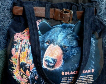 Bears in the Forest - Blue, Black Bear - Soft Tote - Hand Bag - Washable Corduroy - Fully Lined