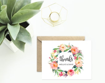 Thank You Cards, Personalized Wedding Cards with Wreath of Flowers