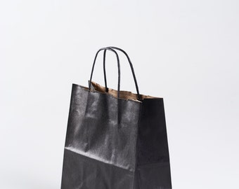 """12 Black Gift Bags with Handles - size Cub - 8"""" x 10.25"""" x 4.75"""""""