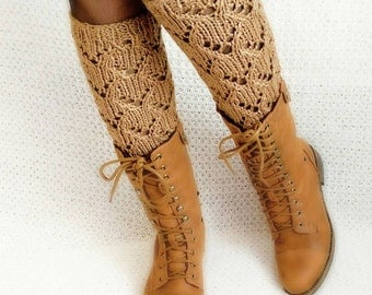 Leg warmers boot cuffs socks, long Brown knitted leg warmers, leg warmers women, Leg Warmers with jeans.