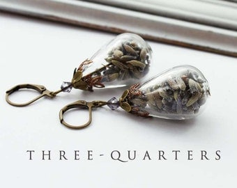 Earrings, drops, lavender, purple, glass drops, lilac, romantic, boho, pendant, antique, glass, flowers, wedding, gift, plain