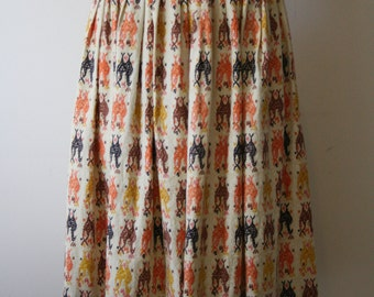 Vintage 1950s Abstract Cotton Full Skirt XS-S