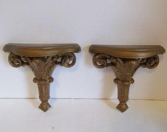 Vintage  Ornate Wall Shelves Burwood Plastic Knick Knack Shelves Decorative Shelving Rococo Style Baroque Style