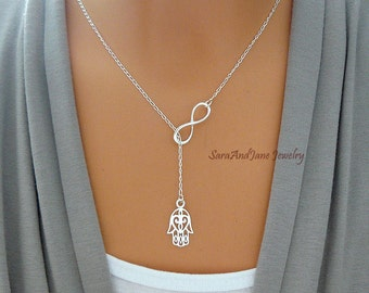 Hamsa Necklace, Hamsa and Infinity Necklace, Hand Pendant, Protection Necklace, Sister Jewelry, Sterling Silver