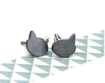 Blackened stud cat earring MIAUUU 925 Sterlingsilver cute kitten animal studs