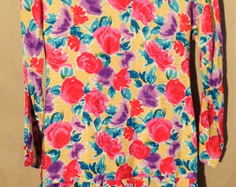 NWT 80s 90s Adorable Womens Vintage Dress - Floral 100% Silk Pleated Ruffle Shift Dress - David Hayes - Size 6