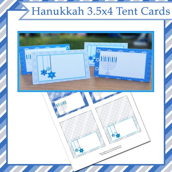 hanukkah tent cards instant download