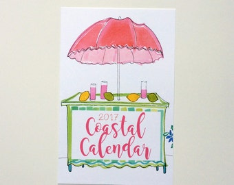 2017  Illustrated Coastal Seaside Wall  & Desktop Calendar