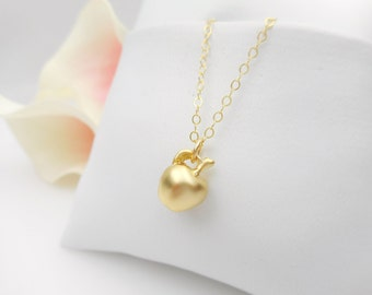 FREE US Ship Tiny Gold Apple Necklace On Gold Filled Chain Minimalist Necklace Dainty Gold Apple Layering Necklace Teacher Gift School Gift