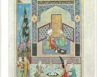 Metropolitan Museum of Art - Lithograph - Bahram Gur In The Turquoise Pavilion - Shaikh-zada of Khurasan - Plate 52