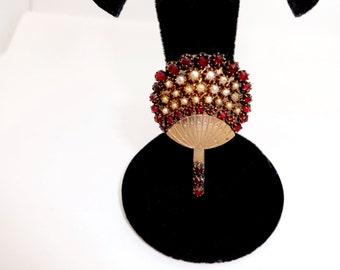 Antique Victorian Gold BOHEMIAN GARNET PIN Brooch Pearls & Pyrope Bohemian Garnet Cluster Asian Fan or Hot Air Balloon
