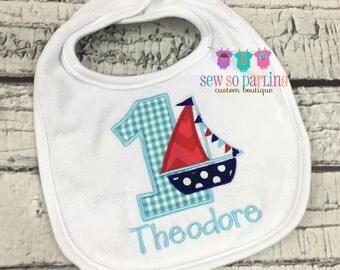 Nautical 1st birthday bib - Personalized 1st birthday Baby Boy Bib - Nautical Baby Bib - Sailboat birthday bib - boy birthday bib