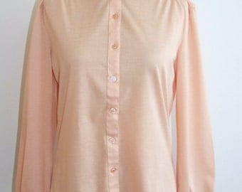 Vintage 1980s Lightweight Peach Shirt Top from C&A - Size 10