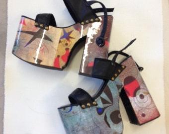 Miro Art print  90s does 70s platform shoes size 37 Carducci avant grade RARE