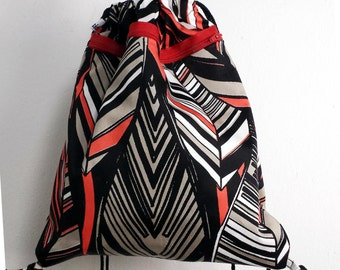 cotton backpack with handles and external zip