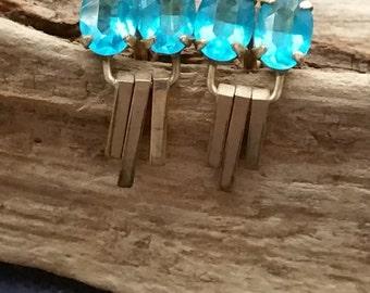 Art Deco earrings - drop earrings - gold filled earrings - rhinestone earrings - aqua blue - lavender - costume jewelry - vintage jewelry