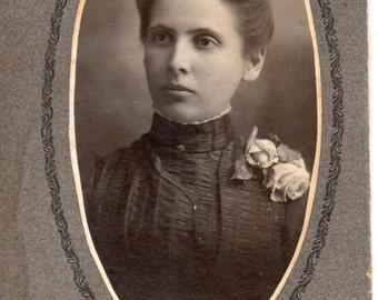 Antique Photo of Woman with Rose Corsage