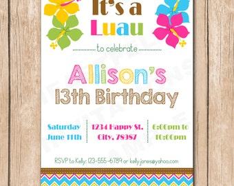 Luau Birthday Invitation | Hawaiian, Hibiscus - 1.00 each printed or 10.00 DIY file