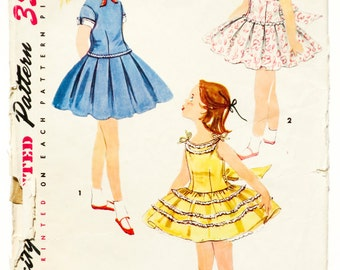 50's Simplicity 1670 -Girl's Dress with Pleated or Ruffled Skirt Pattern - Size 4 - Bust 23