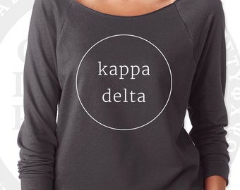 Kappa Delta Pullover Sweater Yoga Shirt | Soft Lightweight Wide Crew Neck with Raw Edge for Layering | Kappa Delta Sorority Sweatshirt