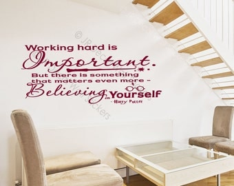 Working hard is Important- inspirational Quote Nursery Wall Decal harry potter wall stickers jrd-qw-35
