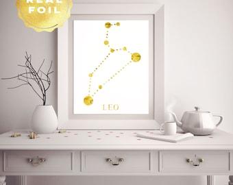 Leo Constellation - Leo Star Sign - Zodiac Leo - Zodiac Art - Wall Art Print - Leo Art - Astronomy Art - Constellation Art - Astronomy Print