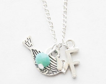 Birthstone Necklace Initial Charm Necklace Bird Necklace Silver Bird Necklace Bridesmaid Gift Silver Bird Charm Necklace Bird Lover Jewelry