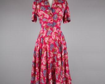 1980s does 50s pink floral tea dress